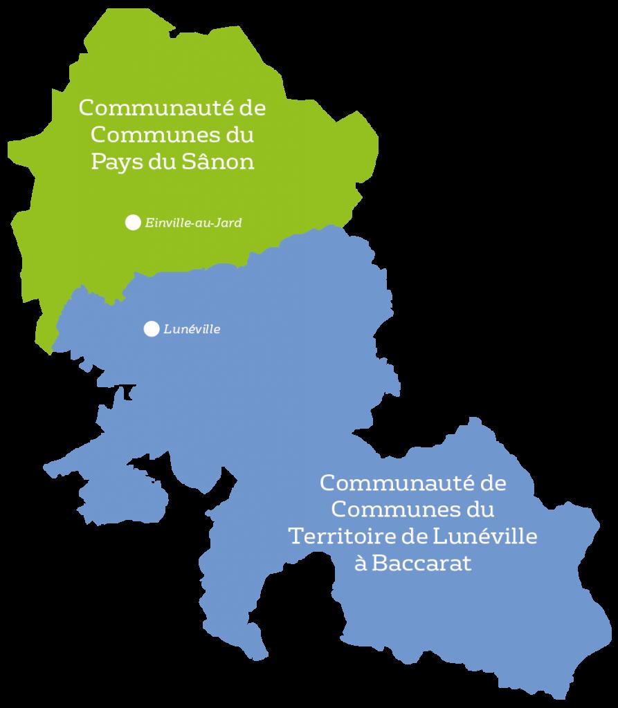 carte de cct pays du sanôn et cct de lunéville à baccarat